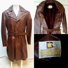 Vintage BERMANS Brown Leather Jacket Coat w/ Zip Out Fur Liner - Men's Size S