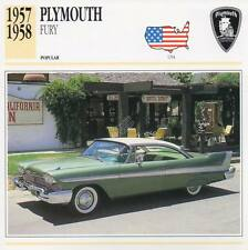 1957-1958 PLYMOUTH FURY Classic Car Photograph / Information Maxi Card
