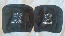 2x PEUGEOT black headrest seat cushion protective cover