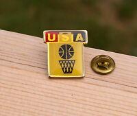"USA Basketball 7/8"" Gold Tone Metal & Enamel Lapel Pin Pinback"