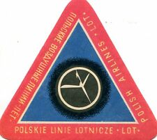 Vintage Airline Luggage Label LOT POLISH AIRLINES triangle red blue