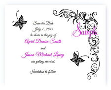 100 Personalized Custom Black Butterfly Swirl Bridal Wedding Save The Date Cards