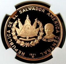 1971 GOLD EL SALVADOR 200 COLONES NGC PROOF 66 ULTRA CAMEO INDEPENDENCE
