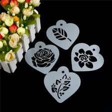 Excellent Rose Flower Leaf Cake Stencil Wedding Coffee Cupcake Cookie Decor XR