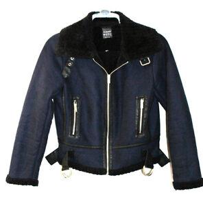 Primark Navy Blue Fur Lined Bomber Biker Jacket UK 10 EUR 38 USA 6