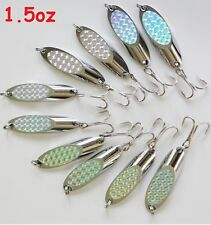 1.5oz Casting Kast Spoons 10 Pieces Chrome/Silver Saltwater Fishing Lures