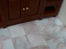 """100 Marble-esque 1 12 Scale 1"""" Pink Blush Marble Effect Dolls House Floor Tiles"""