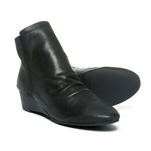 ME TOO Black Leather Back Zip Low Wedge Ankle Boots Pick size 7.5, 8, 8.5, 9.5