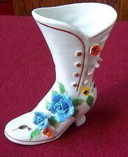 """Vintage Blue Flower Shoe Glass 5"""" Vases Excellent Condition"""