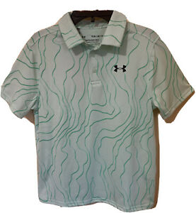 BOY'S UNDER ARMOUR HEAF GEAR POLYESTER  GREEN LOOSE POLO SHIRT SIZE L