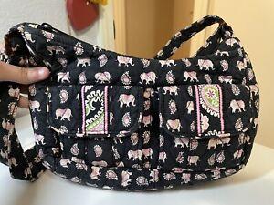 Vera Bradley Black Pink Elephant Paisley Hobo Shoulder Bag Crossbody
