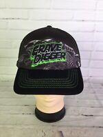 Monster Jam Grave Digger Strapback Hat Cap Mesh Back Black Green Embroidered