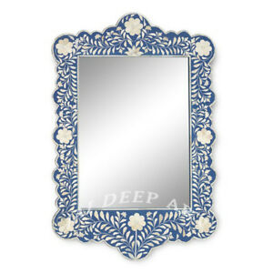 Handmade Bone Inlay Blue Floral Design Wall Mirror Frame