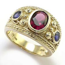 Solid Yellow Gold Natural Iolite Garnet Etruscan Byzantine Style Men's ring 14k