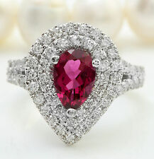3.33 CTW Natural PINK TOURMALINE and DIAMOND in 14K White Gold Women Ring