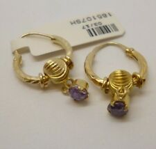 18ct Oro Amarillo Púrpura Amatista Gota Aro Pendientes ornamentada con Broche Accesorio