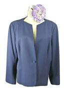 Lafayette 148 New York Single Button Blazer Jacket 18 Navy Blue Solid Wool #1001