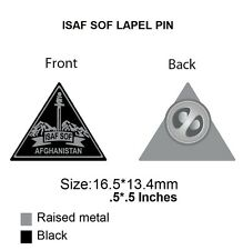 "ISAF SOF Afghanistan Lapel Pin, Brand New, Silver and Black, Aproximately.5""X.5"""