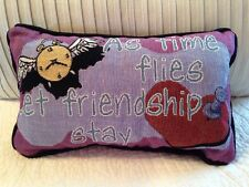 """As Time Flies Let Friendship Stay 8""""x13"""" small accent Tapestry NEW Pillow USA"""
