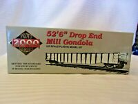 """HO Scale Proto 2000 52'6"""" Drop End Mill Gondola NYC Pittsburgh & Lake Erie Brown"""