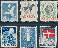 Stamp Label Denmark Christmas WWII 1940-5 Set Norwegian Charity Vignette MNH