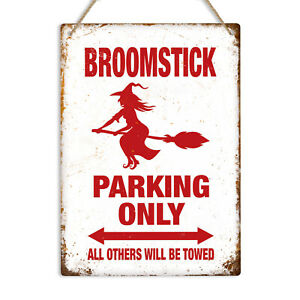 Broomstick Parking Only Metal Tin Sign Plaque Funny Witch Halloween Decoration