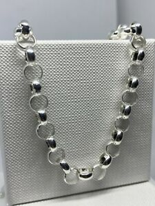 Genuine Mens 7mm Round Belcher 925 Sterling Silver Chain Necklace All Length