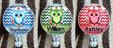 Personalized Badge Reel ID Nurse Owl Retractable Name Card Holder Blue Green Red