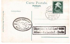 AK, Olympia-Fackel-Lauf 1936, gelaufen 31.07.1936.