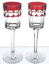 Faberge Ruby Red Na Zdorovye Cut to Clear Crystal Cordial Liqueur Goblets New