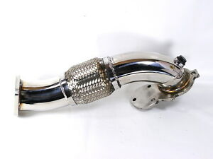 """MK1 Polished Stainless Steel 2.5"""" Downpipe w/Flex Fits Starion Conquest"""