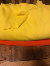 Lot Of 2 Neon Stretch Fabrics Orange Crepe & Yellow Smooth 1 Yd And Large Scrap
