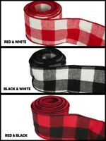 """4 Yards Rolled-up Buffalo Plaid heavy gauge Wired Ribbon 2-1/2"""" Choose Color"""
