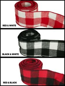 """1 Yard Rolled-up Buffalo Plaid heavy gauge Wired Ribbon 2-1/2"""" Choose Color"""