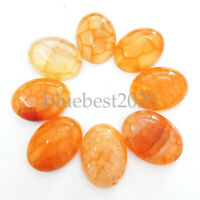 8Pcs 20x15x7mm Beautiful Yellow Dragon Veins Agate Oval Cab Cabochon FF-XCAB36