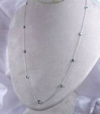 20 in 3.12CT 11 Genuine Blue Green Diamonds by the Yard Necklace 14K White Gold