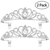 2x Bridal Tiara Rhinestone Crown Headband with Small Comb for Wedding Party Prom