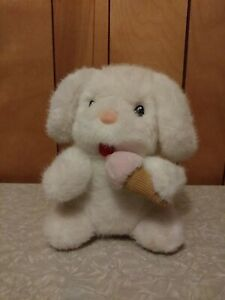 """8"""" VINTAGE RUSS BERRIE CO YUMMY WHITE PUPPY DOG WIND UP STUFFED ANIMAL PLUSH TOY"""