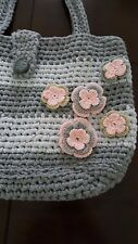 NEW HANDMADE KNIT CROCHET HANDBAG WOMEN'S Shoulde BAG STRIPED FLORAL GRAY PINK
