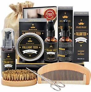Kit Coffret Barbe Homme Shampoing Huile Barbe Peigne Brosse Ciseaux Baume Soin