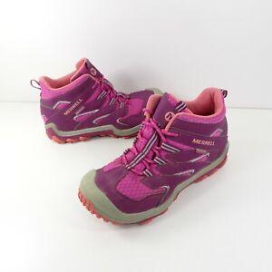 Merrell Men's M-Cham Mid Waterproof Hiking Boots Pink Purple  Size 2 M Girls