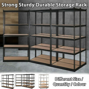 Warehouse Racking 0.7M-0.9M Steel Metal 5-Shelve Garage Storage Rack Black grey