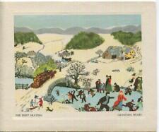 New listing VINTAGE CHRISTMAS WINTER VILLAGE ICE SKATING HORSES GRANDMA MOSES GREETING CARD