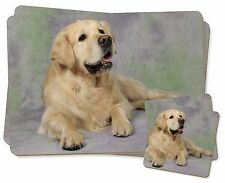 Gold Golden Retriever Twin 2x Placemats+2x Coasters Set in Gift Box, AD-GR2PC