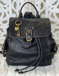 FOSSIL VINTAGE Black Leather Med-Large Backpack City Day Pack Book Sling Bag EUC