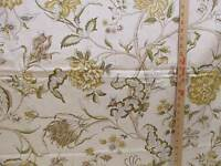 Waverly Spice of Life Fabric Screen Print Large Floral Gold Green Brown Tan