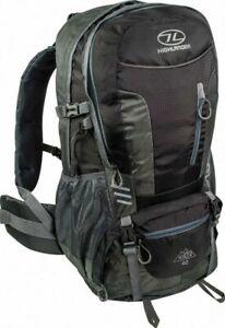 Highlander Hiker 40L Litre Walking Hiking Backpack Rucksack + Raincover Black
