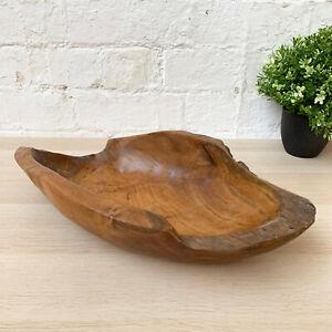 Antique Rustic Kitchen Hand Carved Teak Root Wood Fruit Snacks Food Bowl 35cm