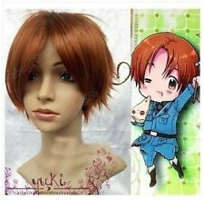 Axis Powers Hetalia APH ITALY Short Brown red Cosplay Wig +Free hairnet   AE70