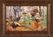 SPRING TURKEYS by Taylor Oughton Turkey Tom Hen 11x15 FRAMED PRINT PICTURE